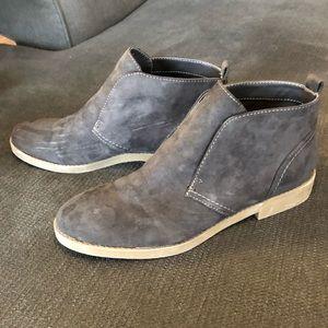 Indigo grey suede booties. Shows scuffs.
